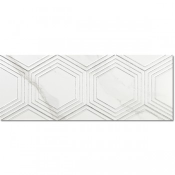 Decor Hexa White Matt Slimrect 25x65