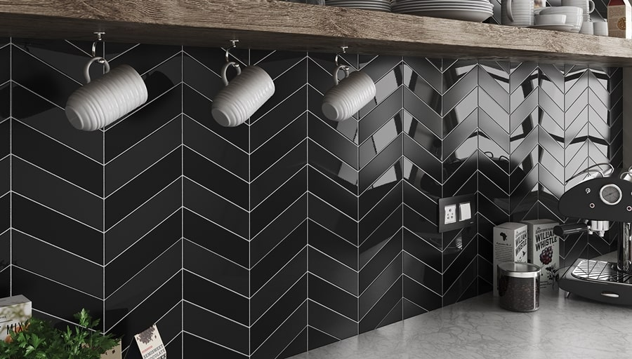 Chevron Wall Black Matt Right 18,6x5,2